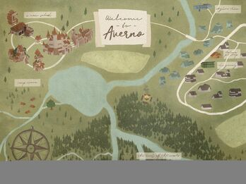 A map of the town, forest, and A New School.