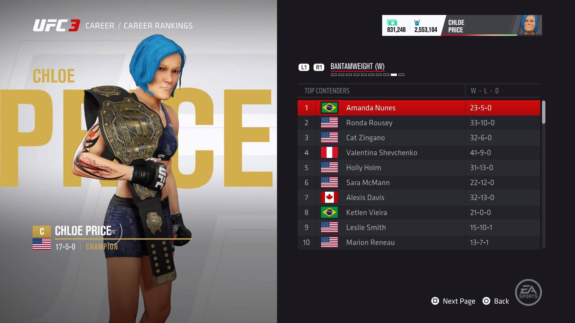 I created Chloe for UFC 3.  The belt she's holding is the UFC Women's Bantamweight Championship.