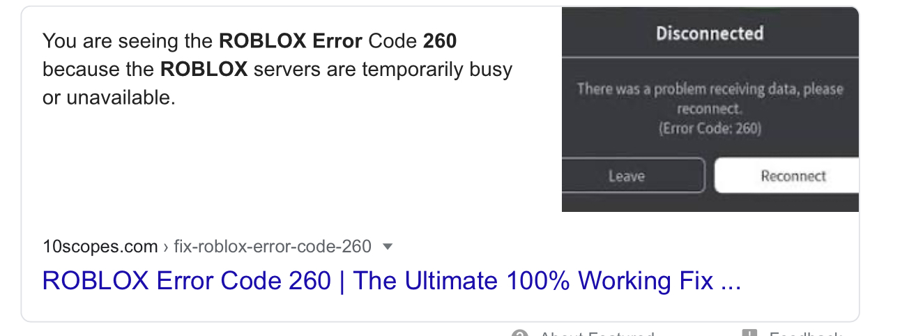 What Is Roblox Error Code 260 Guys Click Here If U R Having The Error Fandom
