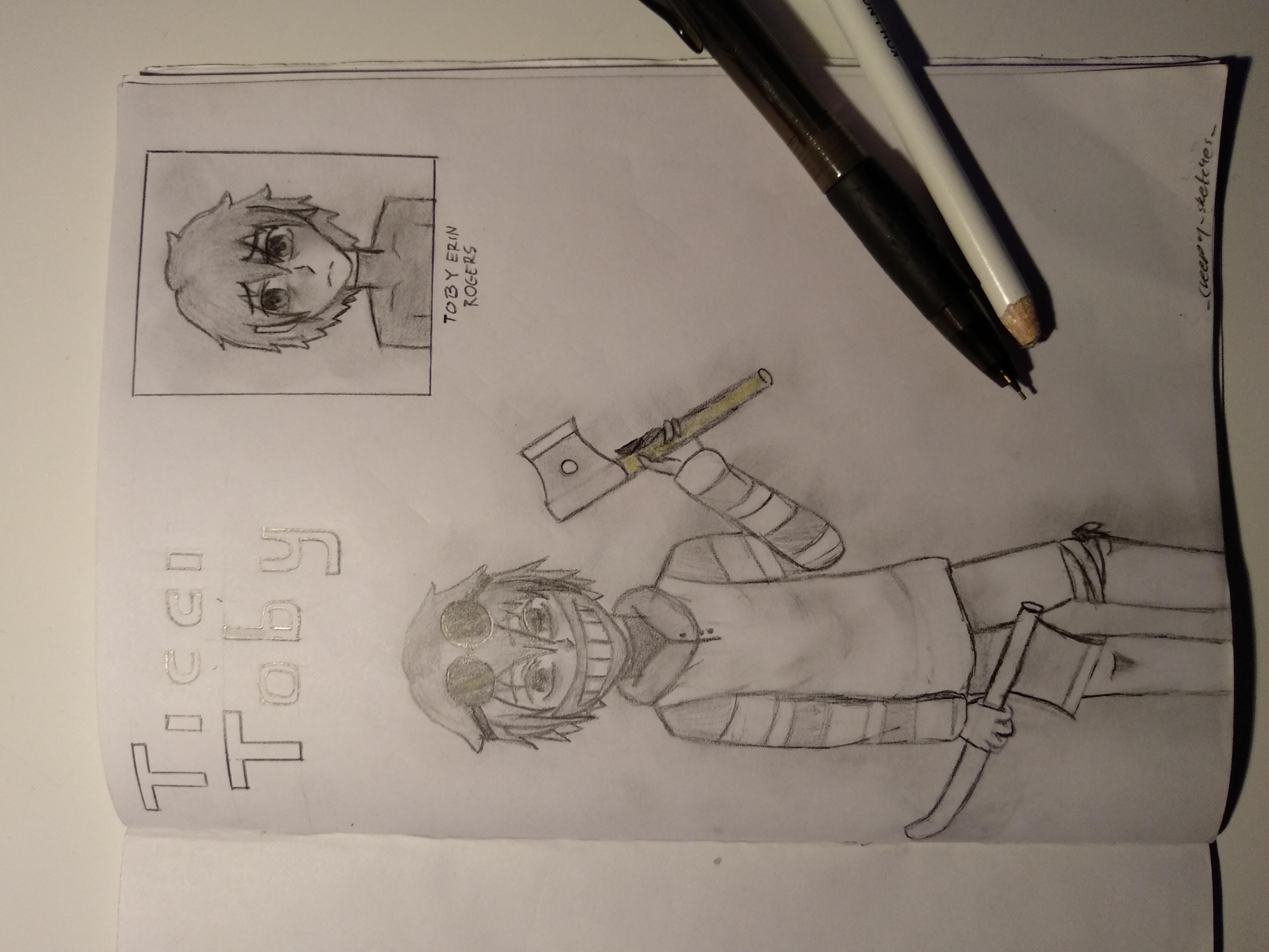 my sketch of ticci toby (he's my favorite Creepypasta btw) i drew him when i was in school 👌