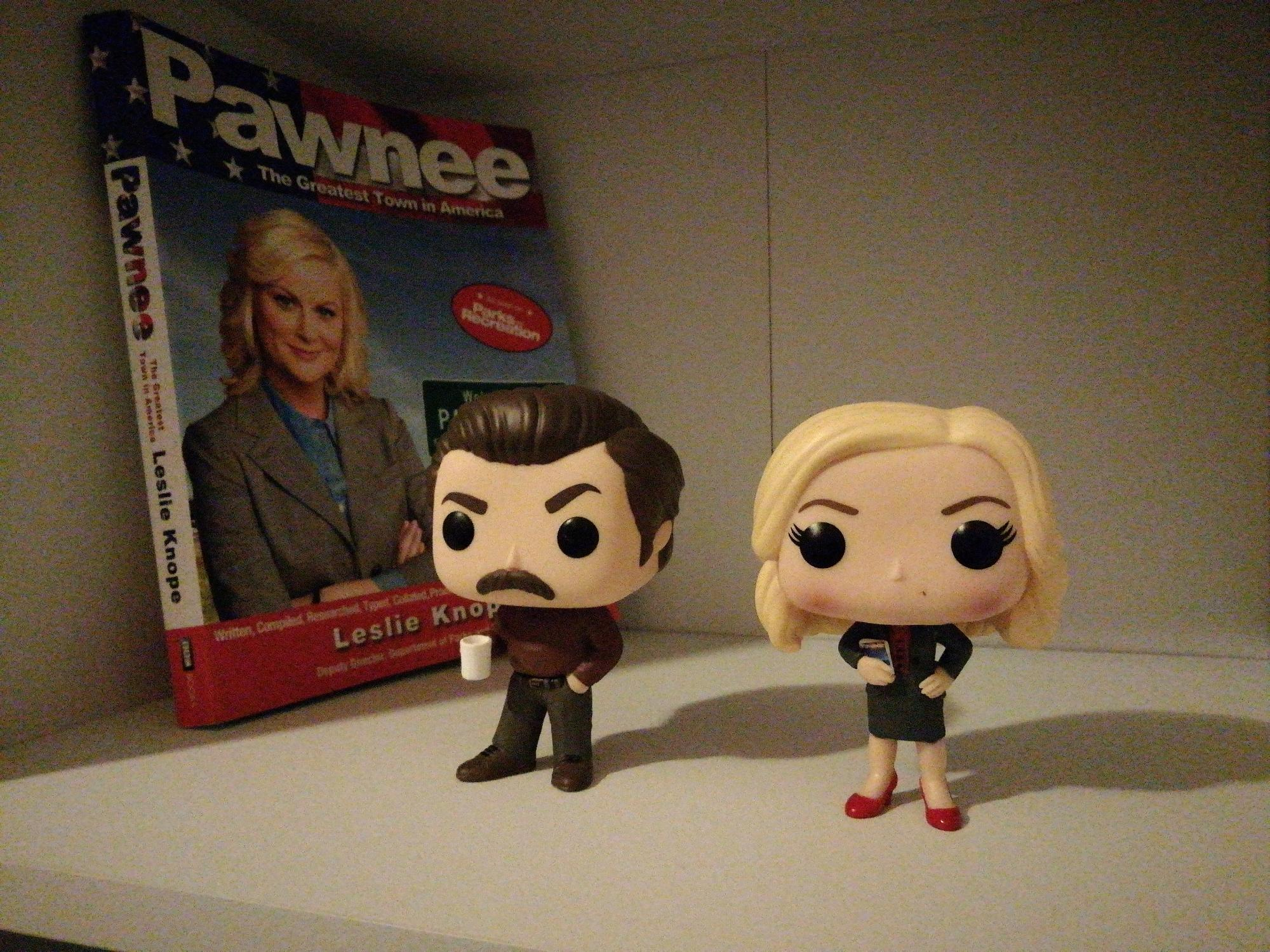 Leslie knope and Ron swanson pop vinyl and pawnee book I got for Christmas