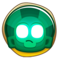 Green icon of a green Temple face