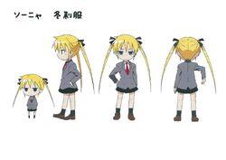 A anime character sheet of Sonya.