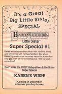 Super Special 1 Karens Wish bookad from BLS 13 1990