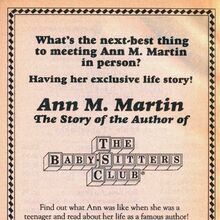Ann M Martin story of author bookad from 64 orig 1993.jpg