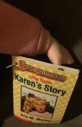 Karen plush doll tag front closeup