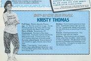 Kristy Thomas Fan Club profile from newsletter