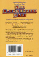 Baby-sitters Club 38 Kristys Mystery Admirer original back cover