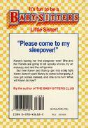 Baby-sitters Little Sister 9 Karens Sleepover back cover