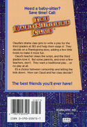 Baby-sitters Club 91 Claudia first thanksgiving back cover