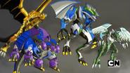 Auxillataur and three Fusion Bakugan