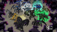 The Bakugan are fighting the Bakuzons