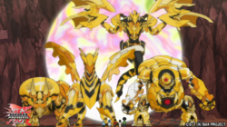 Four Golden Bakugan with the Awesome Brawlers.png