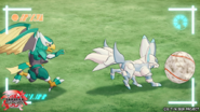 Falcron and Fenneca playing soccer
