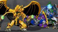 Three Bakugan facing Mechanoid