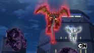 Titan Drago and Hyper Pegatrix faces Bakuzons (Night time)