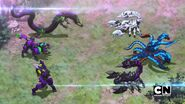 Three Darkus Bakugan vs. Krakelios and Skorporos