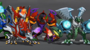 Three Faction Fusion Bakugan facing Mechanoid