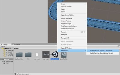 Build track menu