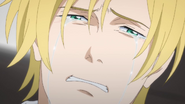 Ash cries after being told by Eiji to go hurrily