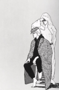 Ash wearing a coat and Eiji with a towel around his head