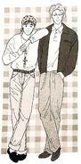 Ash wearing a jacket and Eiji wearing a bandana