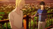 Ash tells Eiji I envy you for not needing a gun in life