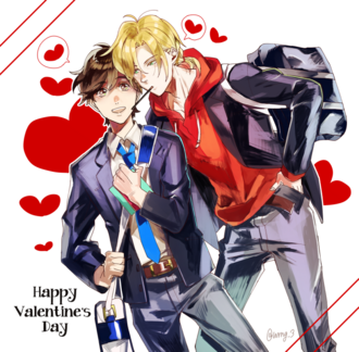 Happy Valentine's Day Banana Fish Ash and Eiji by wrng 3.png