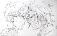 Official artwork of Ash and Eiji looking at each other in Episode 3