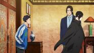 Sing sticks his tongue out at Yut-Lung as he walks away