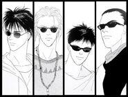 Ash, Eiji, Sing, and Blanca wearing shades