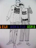 Ash and Eiji wearing matching shirts