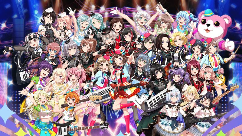 The 35 main characters from the game Girls Band Party