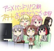 Bang Dream Anime Season 2 Airing Celebration Illustration by Totonemigi