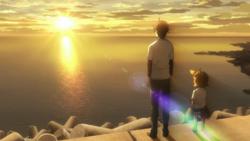 Seishuu y Naru ven la puesta del sol.png