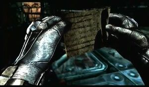 The Joker's Party List in Arkham Asylum.