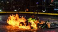 Blacksmith shoots fire as it's pushed by Sawblaze