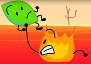 Firey saving Leafy