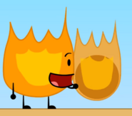 Firey holding the Bowling Ball on fire