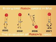 Every time Match spoke in Bfdi -Evolution of Match's voice-