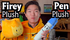 Michael and his Firey and Pen plushes (BFB 27)