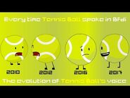 Every time tennis ball spoke in Bfdi -Evolution of Tennis Ball's voice-