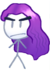 Purple Girl with Wind Hair and Angry Eyes BFSU