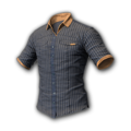 Icon Body Pinstripe Short Sleeve Shirt (Gray-Gold).png
