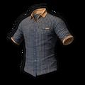 Icon Body Pinstripe Short Sleeve Shirt (Gray-Gold).png