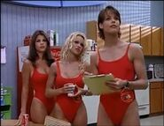 Baywatch - February 17, 1996 - 530 - Caroline (Yasmine Bleeth), CJ (Pamela Lee) & Stephanie (Alexandra Paul) In Their Red Lifeguard Bathing Suits