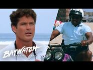 POLICE CHASE CRIMINAL ON TO THE BEACH! Mitch Lends A Hand! Baywatch Remastered