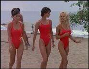 Baywatch - February 17, 1996 - 1249 - Caroline (Yasmine Bleeth), Stephanie (Alexandra Paul) & CJ (Pamela Lee) In Their Red Lifeguard Bathing Suits