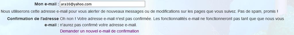 Comment puis-je changer mon adresse email?J'ai essayé d'écrire le nouveau (fonctionnel) et