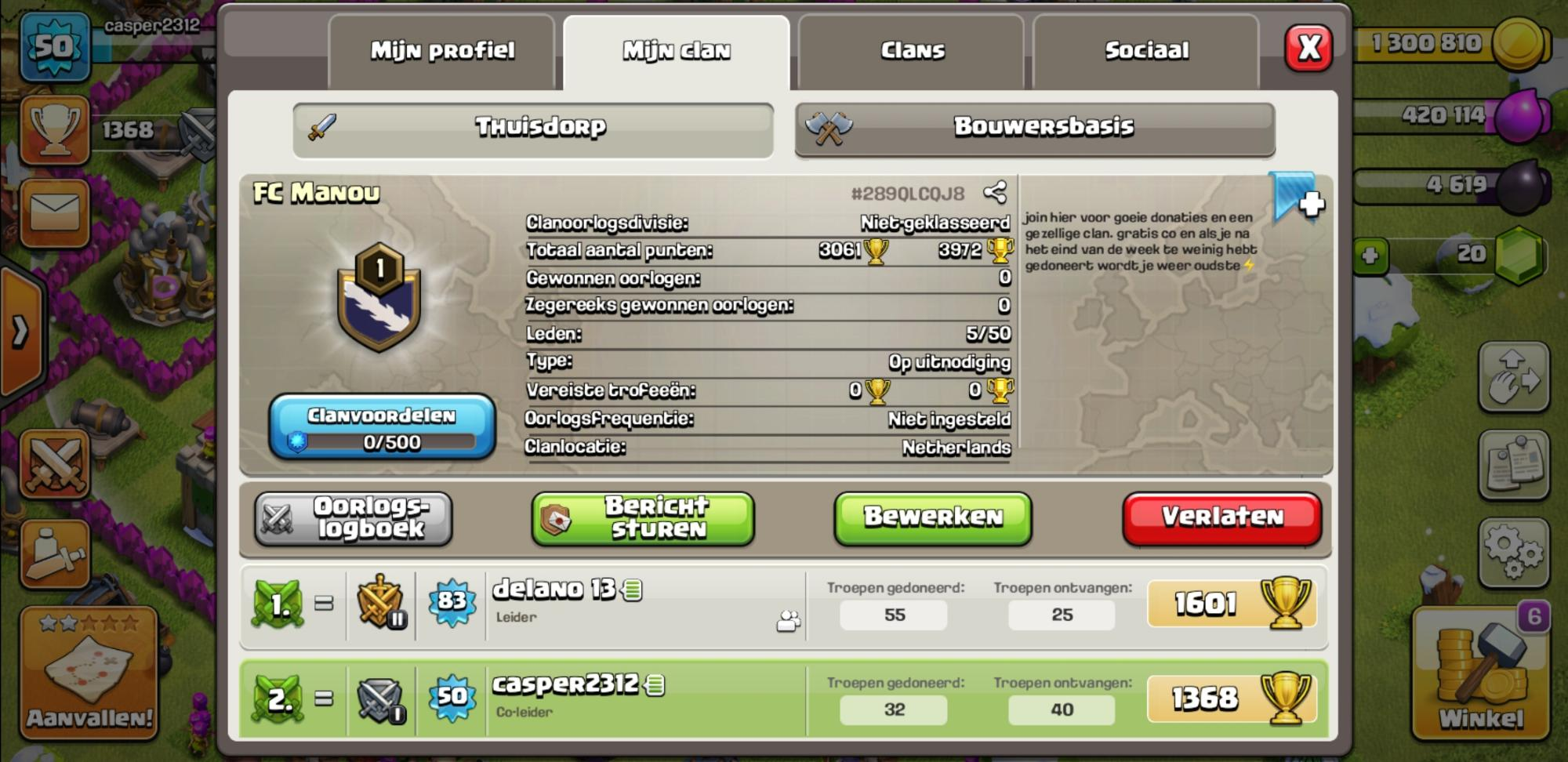 Join the clan for acrive war and good donations